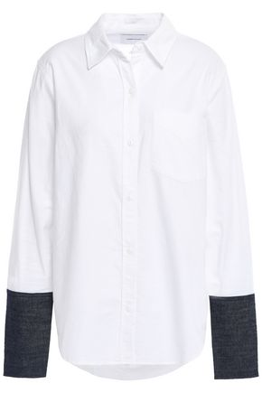 CURRENT/ELLIOTT Denim-trimmed cotton-blend poplin shirt