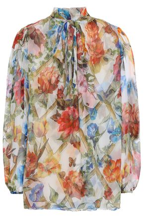 DOLCE & GABBANA Floral-print silk-georgette blouse