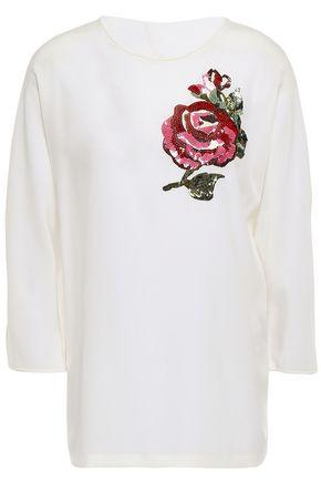DOLCE & GABBANA Sequin-embellished silk-crepe blouse