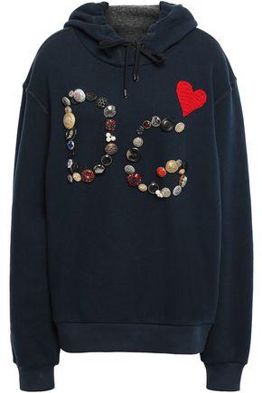 DOLCE & GABBANA Embellished cotton-blend fleece hoodie