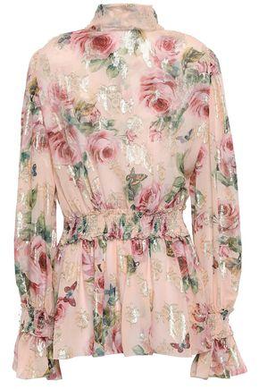 DOLCE & GABBANA Floral-print fil coupé silk-blend georgette blouse