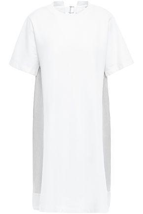 CLU Paneled French cotton-terry and poplin mini dress