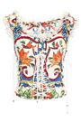 DOLCE & GABBANA Lace-up crochet-trimmed printed bustier
