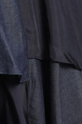 CLU Paneled chambray and satin-twill top