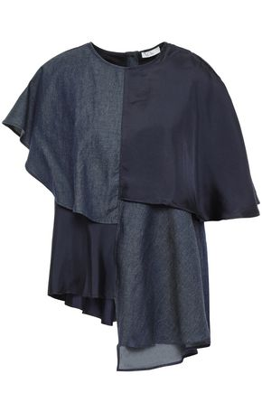 CLU Paneled chambray and satin-twill top