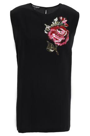 DOLCE & GABBANA Sequin-embellished silk-crepe top