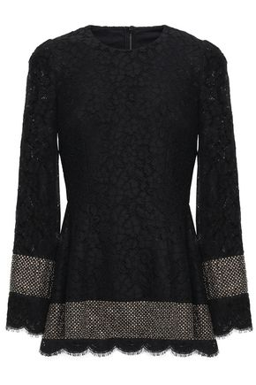 DOLCE & GABBANA Crystal-embellished cotton-blend corded lace peplum top