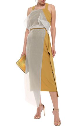 CHALAYAN Draped satin-crepe and striped organza midi dress