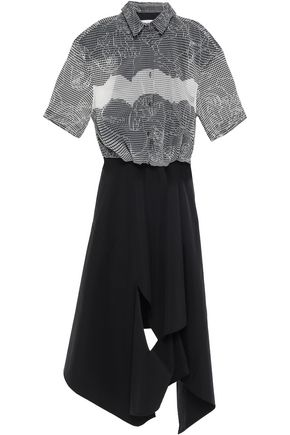 CHALAYAN Paneled cutout sateen and jacquard midi dress