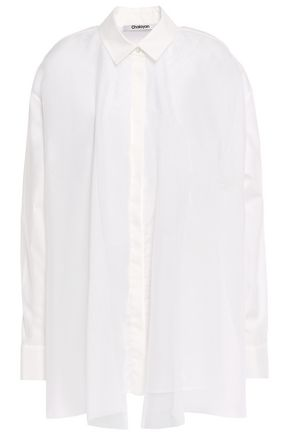 CHALAYAN Layered mesh and cotton-poplin shirt