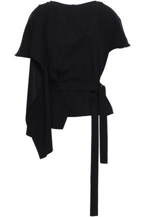 CHALAYAN Lace-up draped crepe-satin top