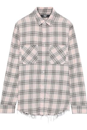AMIRI Frayed checked cotton shirt