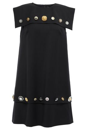 DOLCE & GABBANA Button-embellished wool-blend twill mini dress