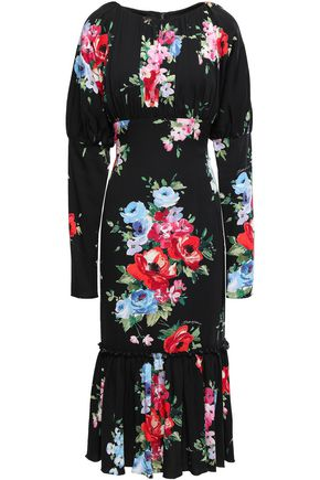 DOLCE & GABBANA Floral-print stretch-silk crepe de chine midi dress