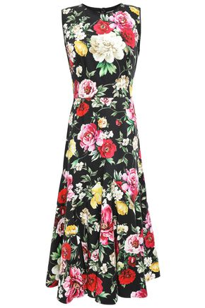 DOLCE & GABBANA Floral-print stretch-cotton midi dress