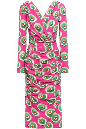 DOLCE & GABBANA Wrap-effect printed stretch-silk crepe dress