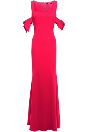 BADGLEY MISCHKA Cold-shoulder bow-detailed stretch-crepe gown