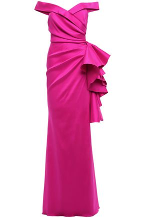 BADGLEY MISCHKA Off-the-shoulder pleated ruffled faille gown