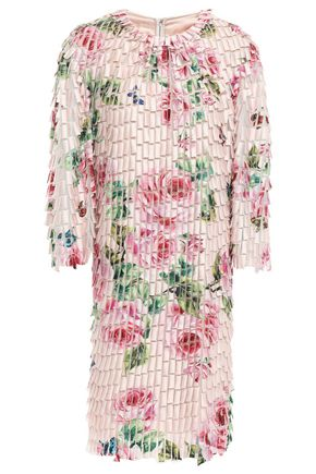 DOLCE & GABBANA Fringed floral-print tulle dress