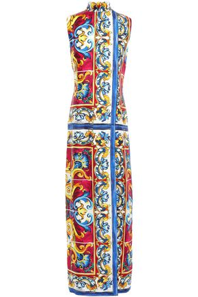 DOLCE & GABBANA Printed silk-twill turtleneck maxi dress