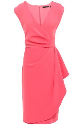 BADGLEY MISCHKA Wrap-effect cady dress