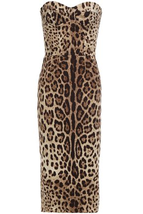 DOLCE & GABBANA Strapless leopard-print stretch-silk dress