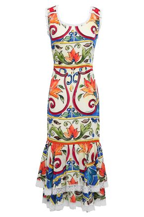 DOLCE & GABBANA Lace-trimmed printed silk-blend midi dress