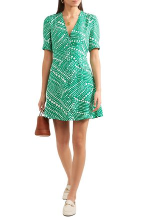 Rixo London Dresses RIXO WOMAN LAURA POLKA-DOT CREPE MINI DRESS GREEN
