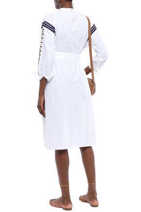 ANTIK BATIK Anika belted embroidered cotton-poplin dress