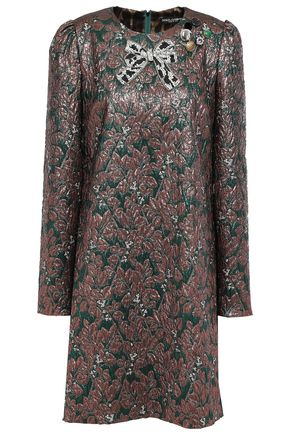 DOLCE & GABBANA Embellished metallic jacquard mini dress