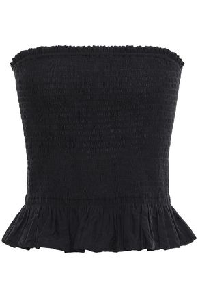 REBECCA MINKOFF Strapless shirred modal-blend jacquard top