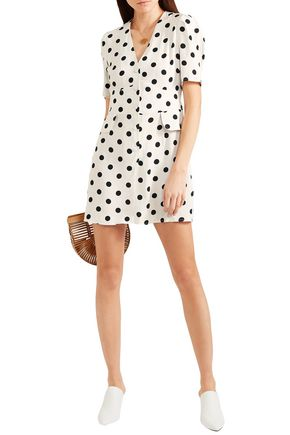 Rixo London Dresses RIXO WOMAN LAURA POLKA-DOT CREPE MINI DRESS IVORY