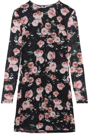 REBECCA MINKOFF Floral-print tulle mini dress