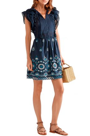 Sea Dresses SEA WOMAN SOFIE PINTUCKED BRODERIE ANGLAISE COTTON MINI DRESS NAVY