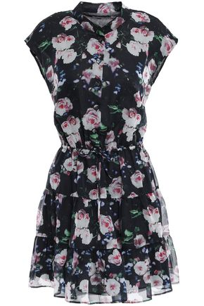 REBECCA MINKOFF Tiered floral-print organza mini dress