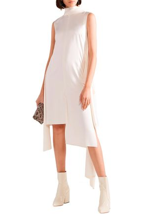 Solace London Dresses SOLACE LONDON WOMAN LARIN ASYMMETRIC SATIN-CREPE DRESS CREAM