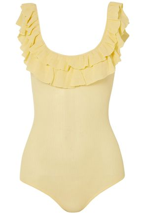 ULLA JOHNSON Arlee ruffled ribbed cotton bodysuit