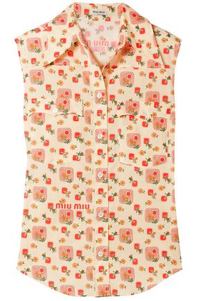 MIU MIU Printed cotton-voile top