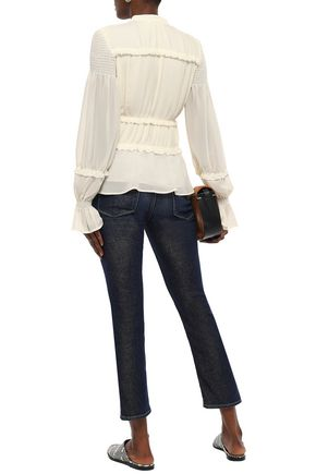 TORY BURCH Ruffle-trimmed georgette blouse