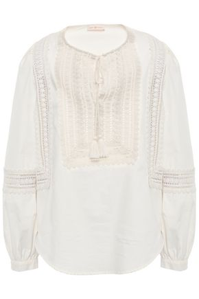 TORY BURCH Crochet-trimmed cotton tunic