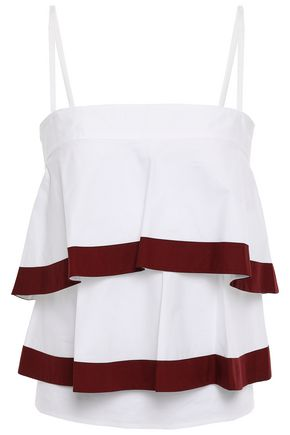 TORY BURCH Tiered cotton-blend poplin top