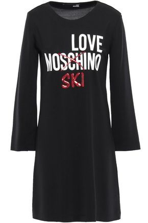 LOVE MOSCHINO Sequin-embellished printed jersey mini dress
