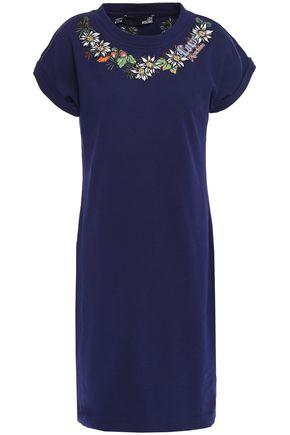 LOVE MOSCHINO Appliquéd cotton-blend fleece mini dress