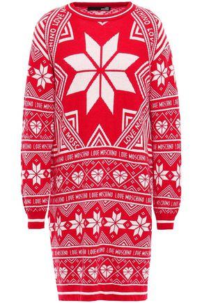 LOVE MOSCHINO Intarsia-knit mini dress