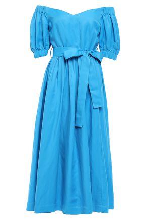 PERSEVERANCE Off-the-shoulder twill midi dress