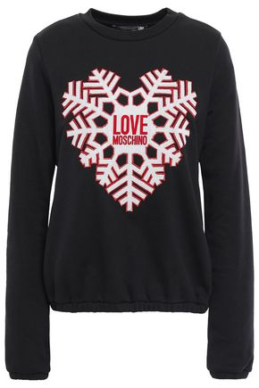LOVE MOSCHINO Embroidered flocked French cotton-blend terry sweatshirt
