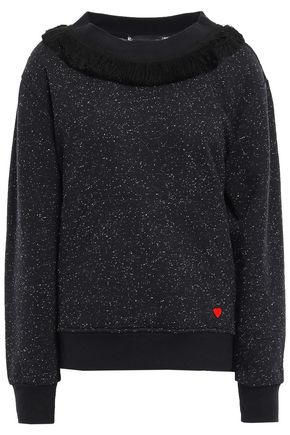 LOVE MOSCHINO Frayed marled cotton-blend fleece sweatshirt