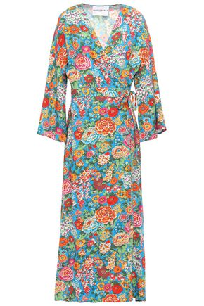 PERSEVERANCE Floral-print woven midi wrap dress