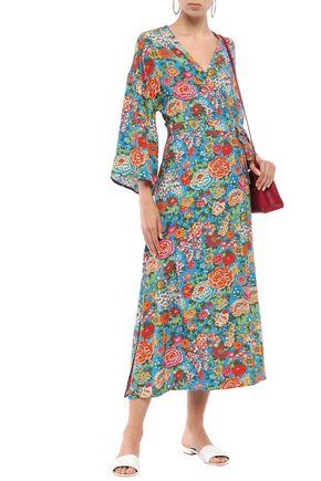 PERSEVERANCE Floral-print woven midi wrap dress