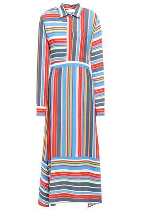 PERSEVERANCE Striped crepe-satin shirt dress